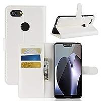 YWH 電話ケース Google Pixel 3 XL用Litchi Texture横置きフリップケース、財布&ホルダー&カードスロット付き (Color : 白)
