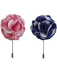 GRALARA ローズ 花 ブローチ スーツ ドレス ピン 優雅 繊細 女性 男性用 全2パターン  - ピンク、ブルー