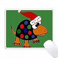 サンタの帽子のクリスマスアートのおかしいカラフルな点在のカメ PC Mouse Pad パソコン マウスパッド