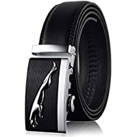 Jaguar Buckle Auto Lock Fashion Designer Leather Belt Black Men & Women Dressing