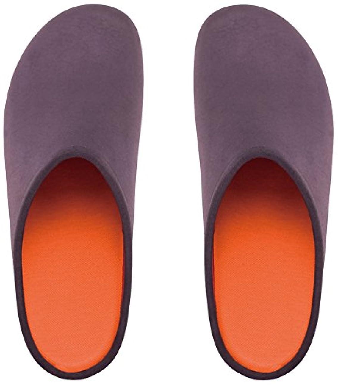 ソフトウェア危機不定プレミアムルームシューズ「フットローブ ピエモンテ / footrobe Piemonte」プレーン(チャコール)+フェルトインソール(オレンジ)セット女性用 25.0cm