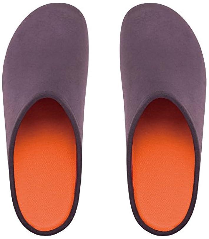 住居悪行中止しますプレミアムルームシューズ「フットローブ ピエモンテ / footrobe Piemonte」プレーン(チャコール)+フェルトインソール(オレンジ)セット女性用 22.5cm