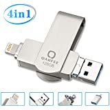 Flash Drive for iPhone, Photo Stick 128GB for iPhone, External Storage Memory Stick Photostick Mobile, Thumb Drive USB 3.0 Compatible iPhone/iPad/Android Backup OTG Smart Phone Qarfee Silver