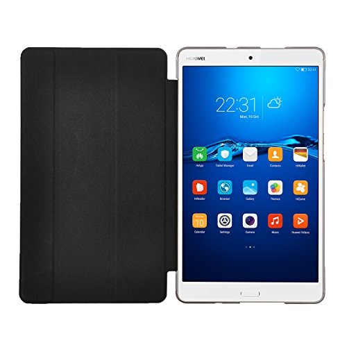 『Huawei MediaPad M3 8.4/ NTT docomo dtab d-03Gケース,【IVSO】Huawei MediaPad M3 8.4上質カバー スタンド機能 半透明PC + PUレザー ケース - Huawei MediaPad M3 8.4専用上質ケース 超薄型 最軽量(ブラック)』の1枚目の画像