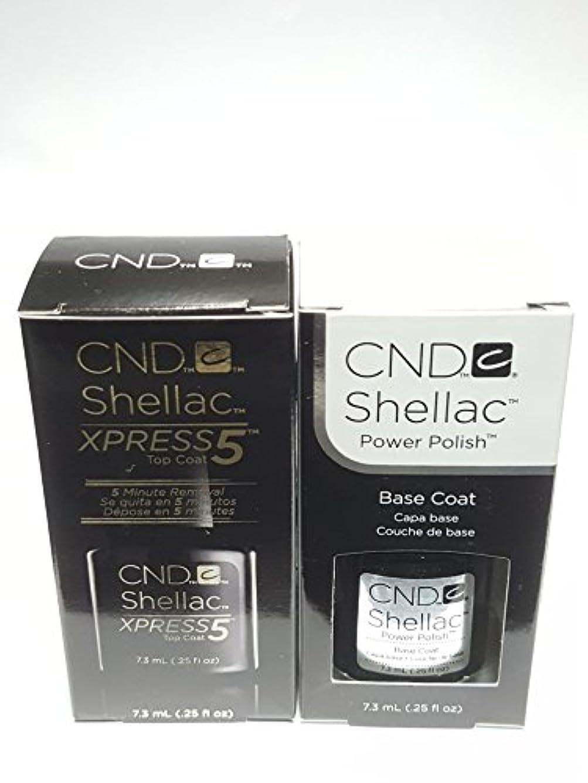 インド枯渇する杖CND シェラック, 2本セット,パワーポリッシュ UV トップコート(New!!! XPRESS5)&ベースコート[海外直送品] [並行輸入品]