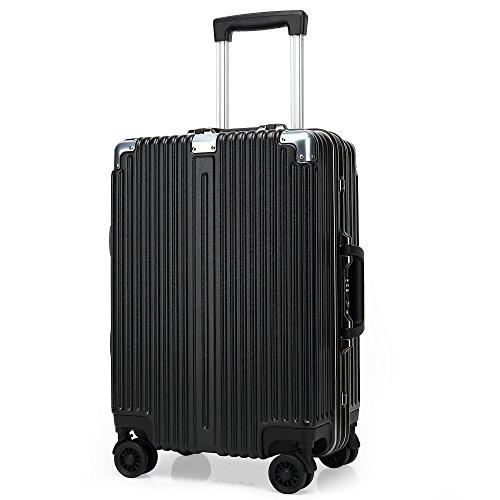 Kroeus(クロース)スーツケース キャリーケース アルミフレーム TSAロック搭載 マット仕上げ 軽量 ダブルキャスター S型機内持ち込み可 トランクケース 出張 日本語取扱説明書 1年間保証 20 ブラック