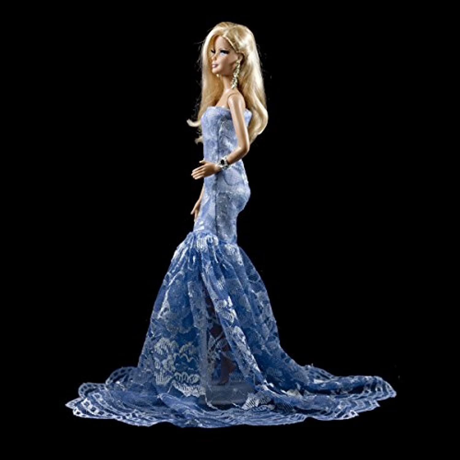 Barbie Blue Multitextured Lace Strapless Gown Blue Long Dress for Barbie Doll