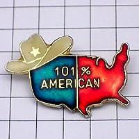 限定 レア ピンバッジ アメリカ人101%カウボーイハット帽子 ピンズ フランス