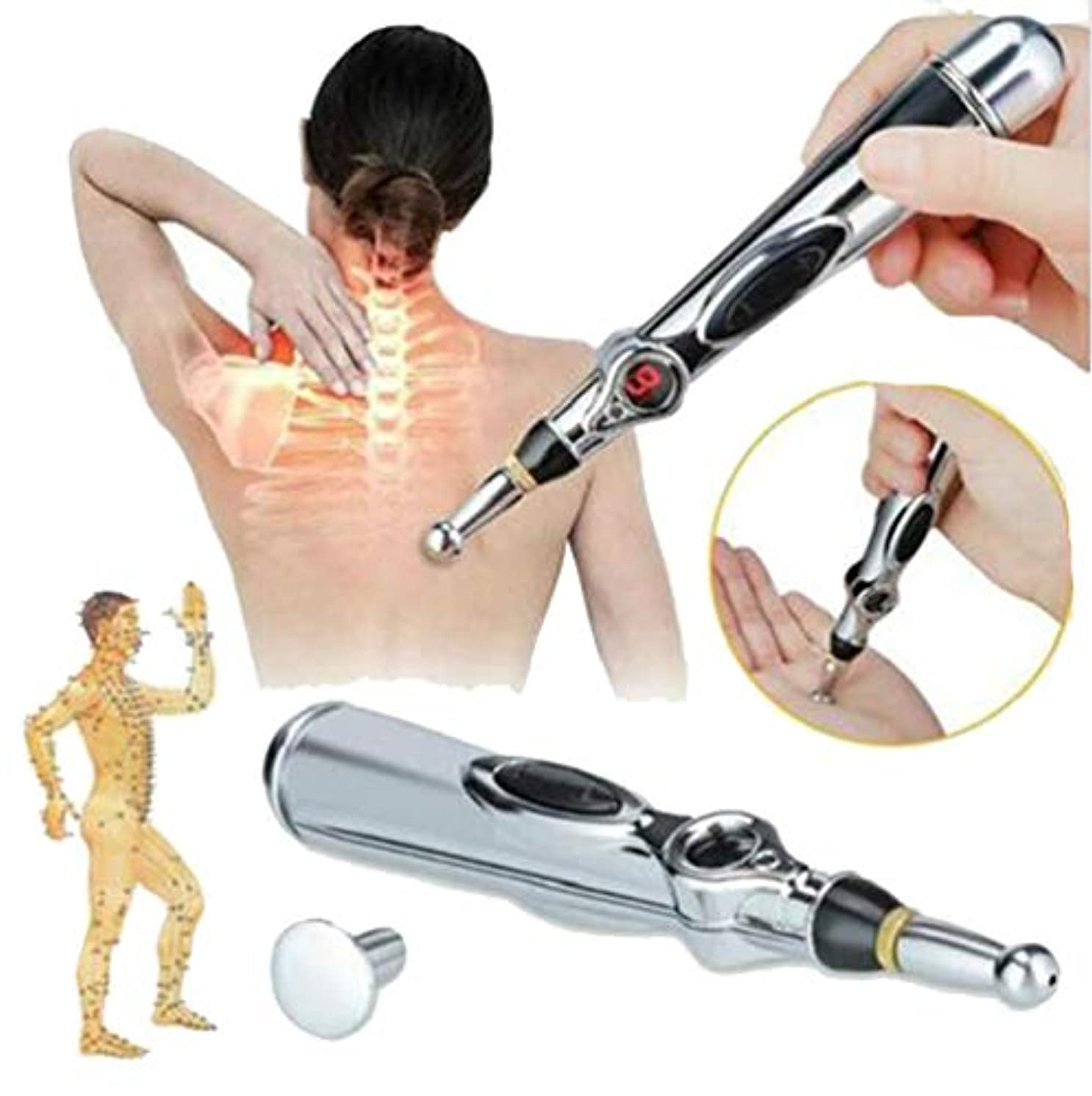 人形離れた連帯電子鍼ペン経絡レーザー鍼灸器マグネットマッサージャー家庭用医療器
