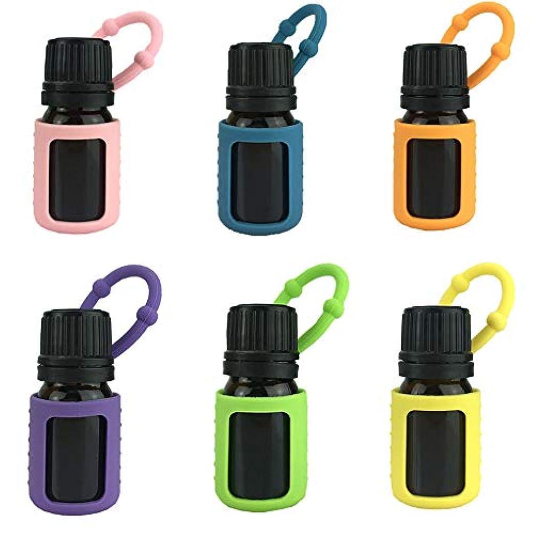 面倒苦難リスナー6パック熱望オイルボトルシリコンローラーボトルホルダースリーブエッセンシャルオイルボトル保護カバーケースハングロープ - 色込 - 6-pcs 5ml