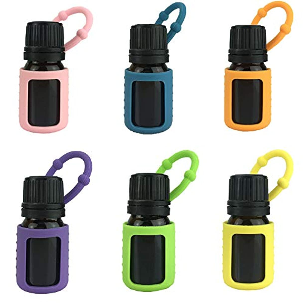 バイアスメンタルアルコール6パック熱望オイルボトルシリコンローラーボトルホルダースリーブエッセンシャルオイルボトル保護カバーケースハングロープ - 色込 - 6-pcs 5ml