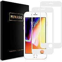 【浮きがなく】 Nimaso iPhone 8 / 7 用 全面保護フィルム 強化ガラス 【フルカバー】保護フィルム 硬度9H/高透過率 (iPhone8 / iPhone7 用 フィルム, 2枚セット ) (ホワイト)