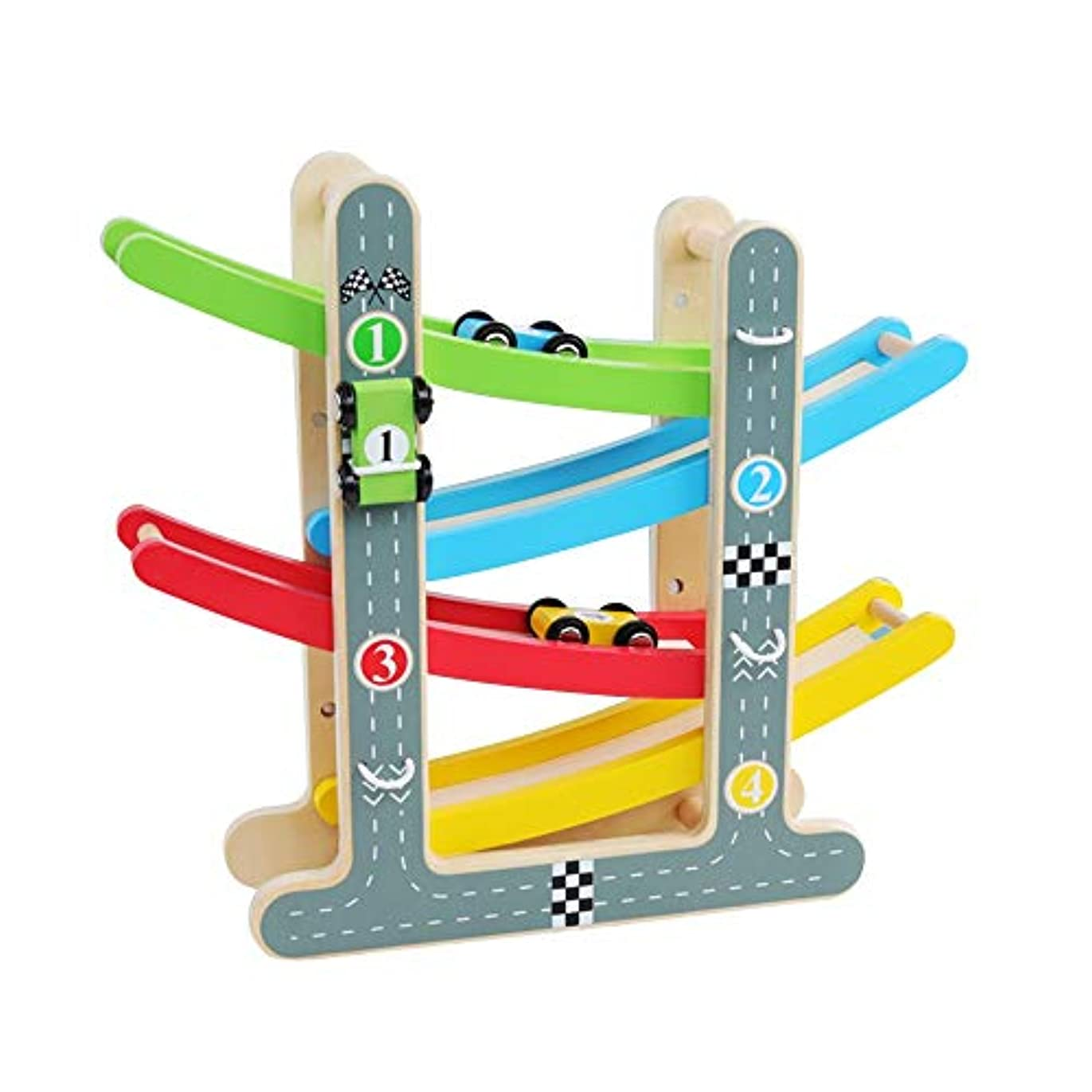 老朽化したチューインガム穴Xyanzi 子どもおもちゃ 幼児のおもちゃレーストラック、4台のミニカーとランプレーサーゲーム初期開発車両プレイセット玩具(サイズ:8.86