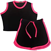 Kids Girls Shorts 100% Cotton Contrast Taped Summer Black Top & Hot Shorts Sets