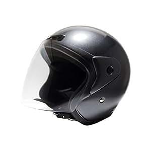 [ビーアンドビー] バイク用 オープンフェイスヘルメット SGマーク適合品 ガンメタ フリーサイズ BB-400
