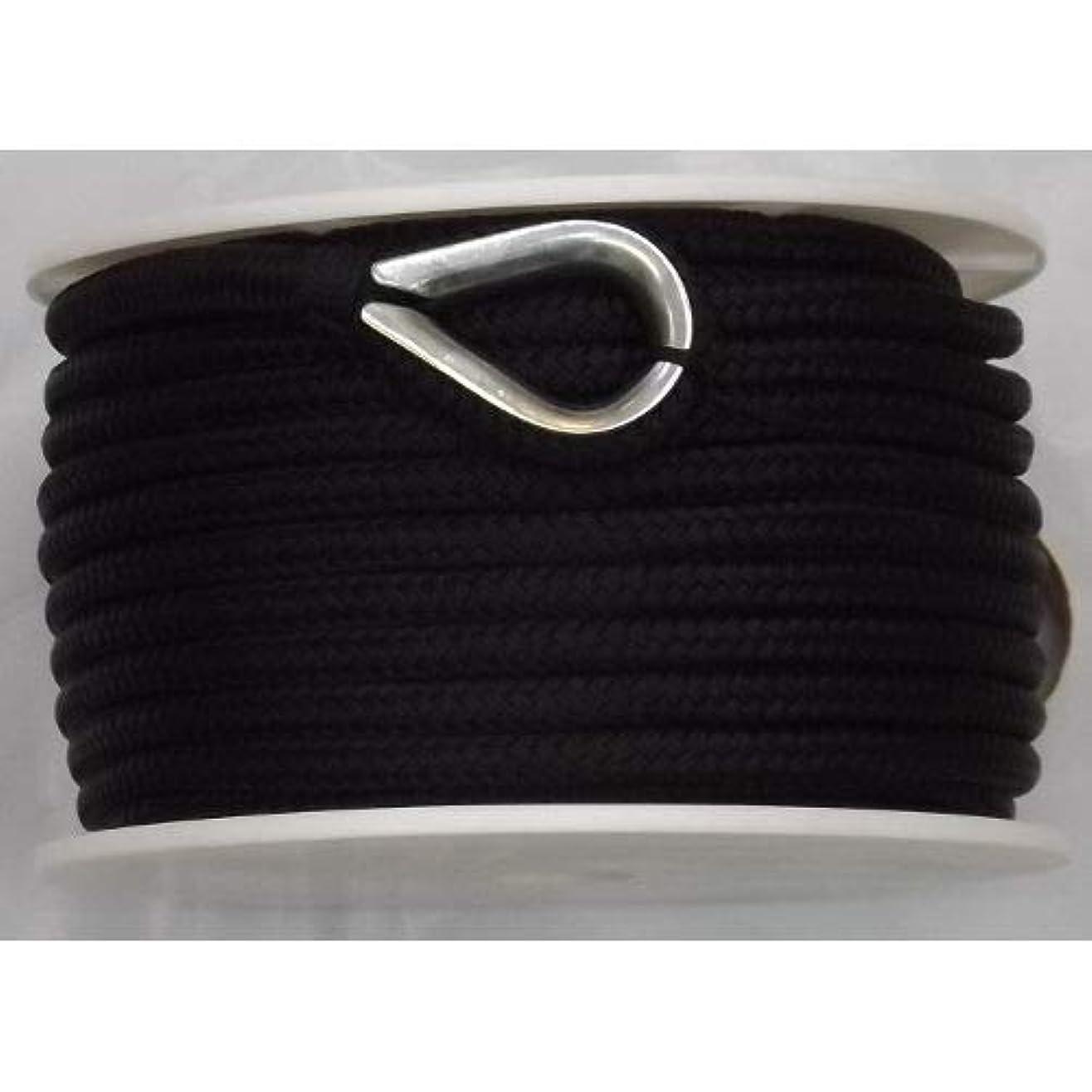 主導権光の宙返りUS Ropes ナイロンダブル編みアンカーライン 3/8インチ x 100フィート ブラック