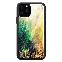 iPhone 11 Pro Max 用 強化ガラスケース クリア 薄型 耐衝撃 黒 カバーケース フラワー メドウの野花 iPhone 11 Pro 2019用 iPhone11ケース用