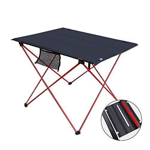 Nasular アウトドアテーブル 折り畳みテーブル アルミ 軽量 ロールテーブル キャンプ コンパクト用 BBQアウトドア オックスフォード ビーチ 収納バック付き (レッド)