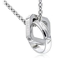 [ナピスト] ネックレス メンズ サージカル ステンレス クリスタル リング スクエア シルバー NPN013