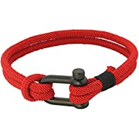 Fabric Rope Ankle Wrist Friendship Surf Bracelet in Red/Black a Nautical Anchor Shackle Clasp - Hawaiian Jewelry Gift Stylish Men, Women, Boys Girls Her Him.