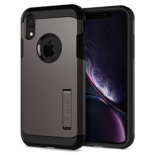 【Spigen】 スマホケース iPhone XR ケース 6.1インチ 対応 耐衝撃 スタンド機能 傷防止 カメラ保護 米軍MIL規格取得 衝撃 吸収 Qi充電 ワイヤレス充電 タフ・アーマー 064CS24877 (ガンメタル)