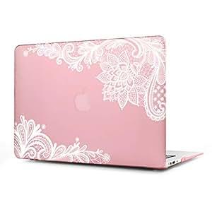 女性のファッション MacBook 12 インチ ケース Batianda かわいいレース柄 つや消しハードカバー 保護ケース MacBook 12 インチ(型番:A1534)-ピンク