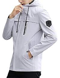 maweisong メンズウインドブレーカージャケットフードロングスリーブフルジップジャケット