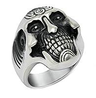 Aooaz ステンレス メンズ リング 大きい 幅広 スカル 髑髏 シルバー ブラック パンク 指輪 サイズ:19