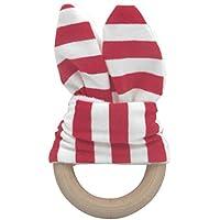 レッド&ホワイトかわいい赤ちゃん安全木製Natural Teething Ring Teether Bunny Sensory Toyギフト