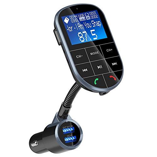 FMトランスミッター QC3.0急速充電 カーチャージャー 車載用充電器 CVC6.0ノイズキャンセリング搭載 Bluetooth/TFカード/Uデスク対応可 電圧測定 カーナビ音声伝送 ハンズフリー通話 2USBポート 12V/24V車対応 18ヶ月品質保証 (4モード音楽再生)