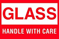 Tape Logic DL1065 Shipping and Handling Label Legend GLASS - HANDLE WITH CARE 3 Length x 2 Width White on Red (Roll of 500) [並行輸入品]