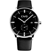 CIVO Mens Watches Leatehr Waterproof Black Watch Men Date Calendar Simple Design Wrist Watches Casual Business Dress Fashion Classic Analogue Quartz Watches for Men