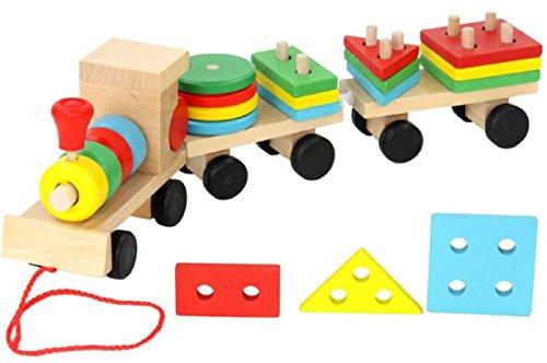ADCRAS (アドクラス) おもちゃ 汽車 トレイン 木製 パズル 積み木 玩具 幼児 知育 教育 (Aタイプ)