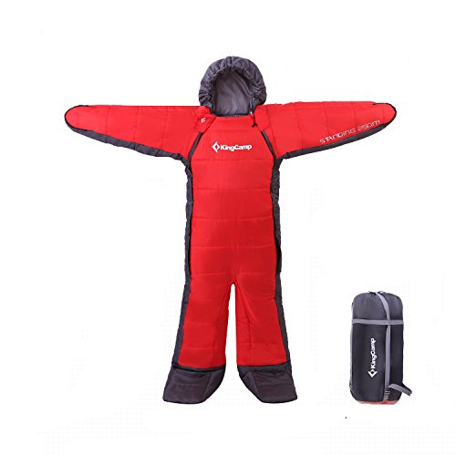 KingCamp 「寝袋 丸洗いOK」「人型寝袋 人型シュラフ 歩ける寝袋」「 アウトドア キャンプ 釣り 室内 防寒グッズ」最低使用温度-8℃ (180cm, レッド)