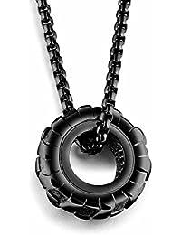 MFYS Jewelry ファッション メンズ パンク系 ロック風 車 タイヤ ペンダント ステンレス ネックレス (チェーン付) 【専用ジュエリーBOX付】 (ブラック)