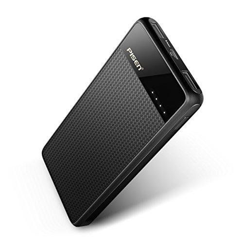PISEN モバイルバッテリー 超軽量 10000mAh 大容量バッテリー 薄型 持ち運び充電器 2.1A 急速充電 2ポート同時充電 iPhone / Android / iPad / Sony対応 (ブラック)