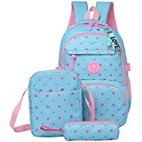 Girls School Backpacks Star Pattern Kids Bookbags Set Teens Students School Bag and Lunch Shoulder Bag Pencil Case Kits, 3Pcs