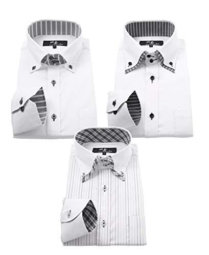 ビジネスマンサポート 北斎 ワイシャツ 長袖 ストレッチ メンズ 3枚セット 形態安定加工