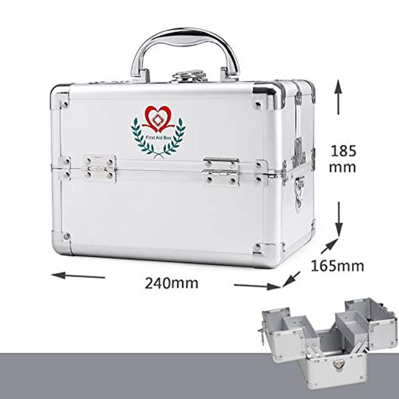 成功余計な解放するXuping shop 応急処置対応バッグ、アルミ合金家庭用医療収納ボックス、二重層外来救急医療キット (色 : シルバー しるば゜)