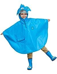 レインコート キッズ 子供 レインウェア 男の子 女の子 雨具 男女兼用 ポンチョ 軽量 かわいい、ブルー
