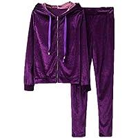 UUYUK Women 2 Piece Outfits Velvet Zip Front Hooded Jacket Sweatpant Tracksuit