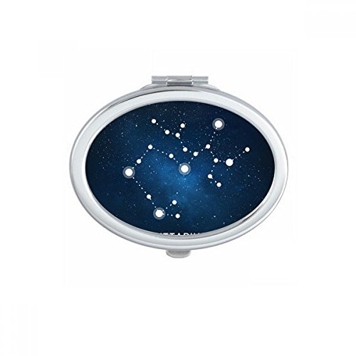 射手座の星座の十二宮のサイン 楕円形のコンパクトメークアップポケットミラー携帯用の小さなかわいいハンドミラープレゼント