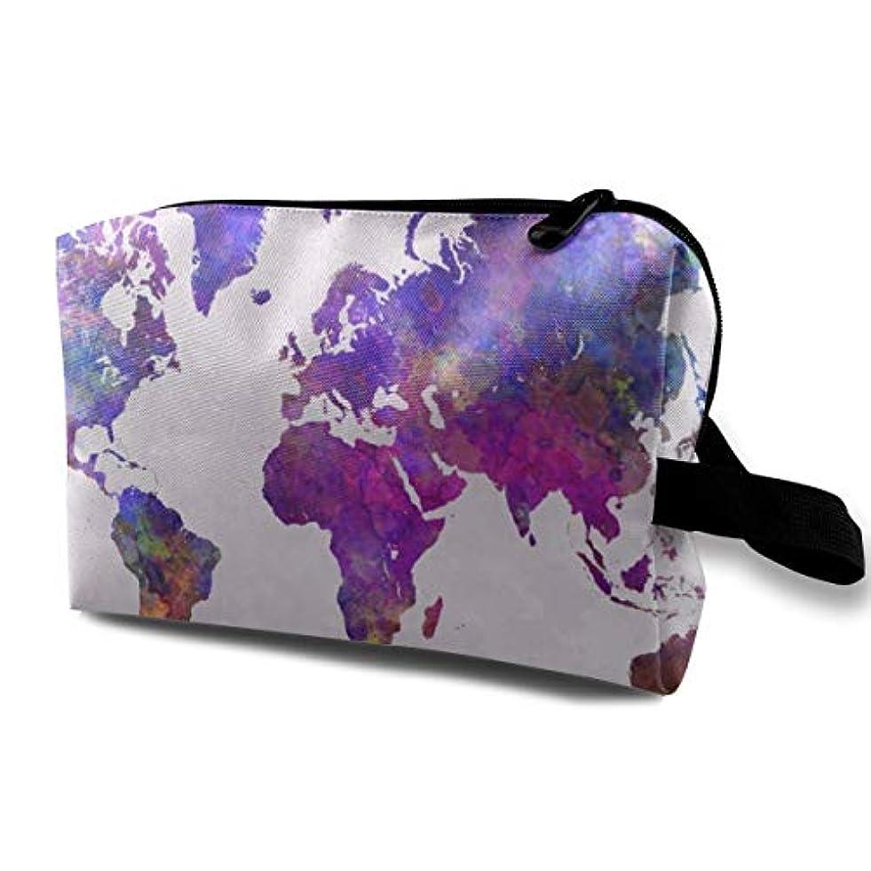 実装する島閉じ込めるWatercolor World Map 収納ポーチ 化粧ポーチ 大容量 軽量 耐久性 ハンドル付持ち運び便利。入れ 自宅?出張?旅行?アウトドア撮影などに対応。メンズ レディース トラベルグッズ