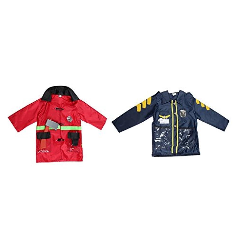反響する強大な桃Flameer 帽子 コート 手錠 コスチューム 警察官+消防士 3歳?8歳適応 職業 制服 セット コスプレ パーティー キッズ 男の子 衣装