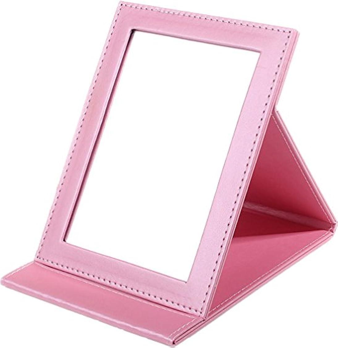 おめでとうステレオタイプ自治Sunset House 折りたたみミラー レザー 鏡 ピンク 小 中 大 3サイズ (M)