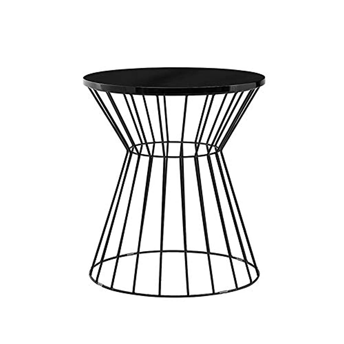 HUO 鉄の小さいテーブルのソファーの側面のテーブルの円形のコーヒーテーブルの居間の棚(金、黒)-45 * 45 * 50cm (色 : 黒)