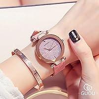 ZHANGZZ高品質、ハイエンドのファッションウォッチ, GUOUの腕時計の女性は方法星のビロードの革ベルトの腕時計を見ます (Color : 5)