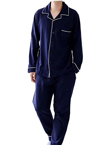 【シャルフィール】 パジャマ 長袖 上下 セット 寝間着 シャツ 前開き シンプル メンズ (L, ネイビー)