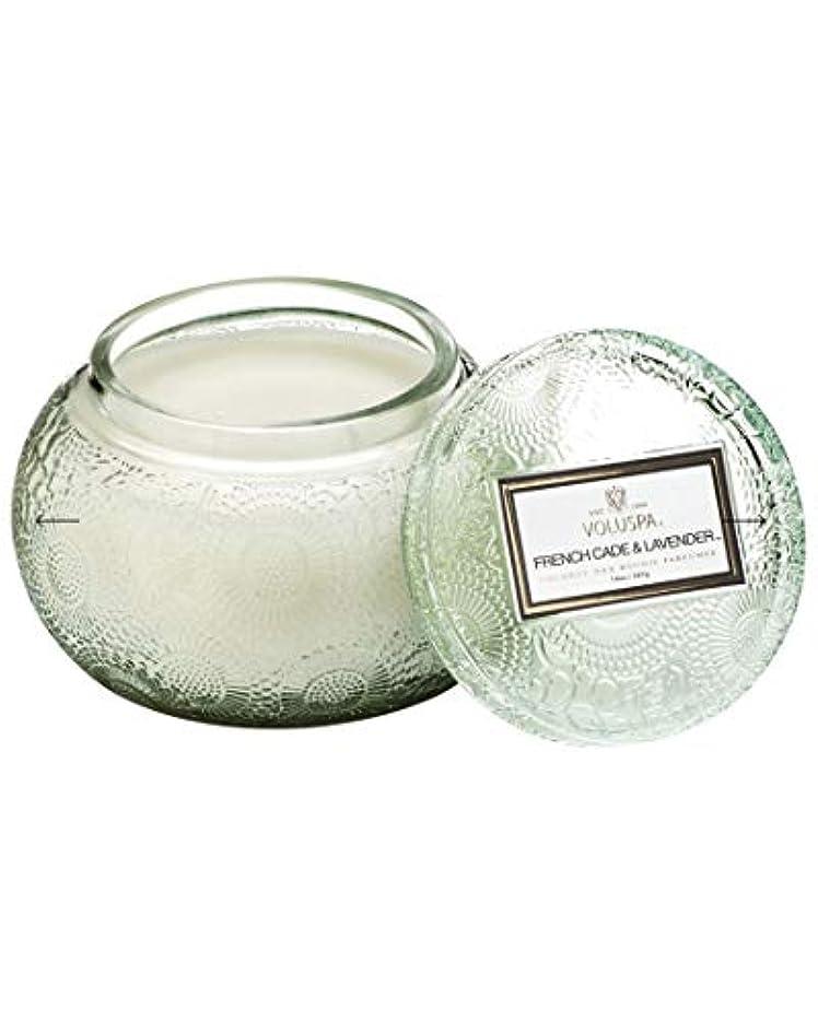 タブレット居住者ヘルシーVOLUSPA チャワングラスキャンドル French Cade Lavender フレンチケード&ラベンダー GLASS CANDLE ボルスパ