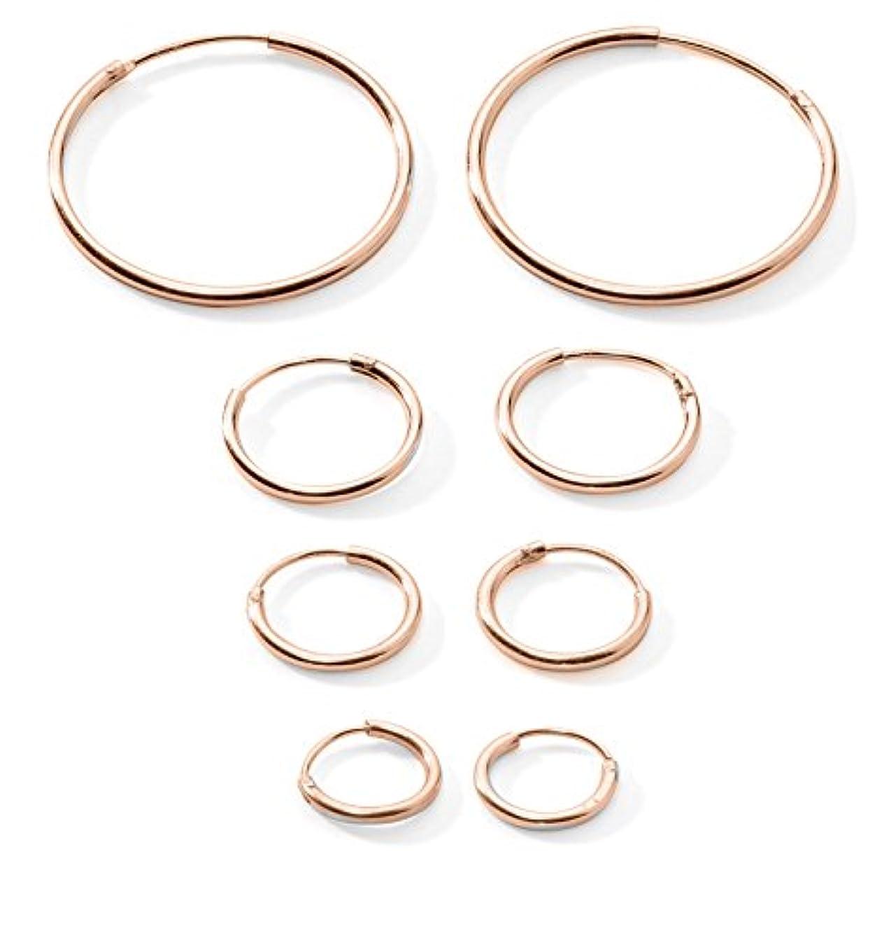 ニッケル合法のぞき穴4-pairs軟骨/鼻/唇スターリングシルバー925小さなエンドレスフープイヤリング10 mm , 12 mm , 14 mm & 20 mm